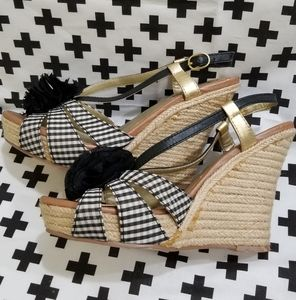 Gingham Seychelles rope wedge heels